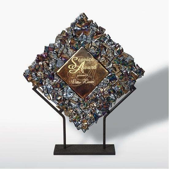 ignot glass metallic award on stand