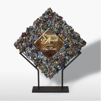 ignot glass metallic award on stand